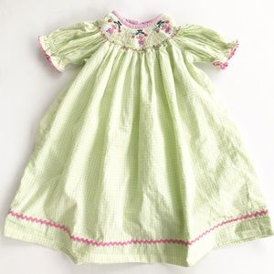 Smocked Dress Snowman Girls 2T zuccini Bishop